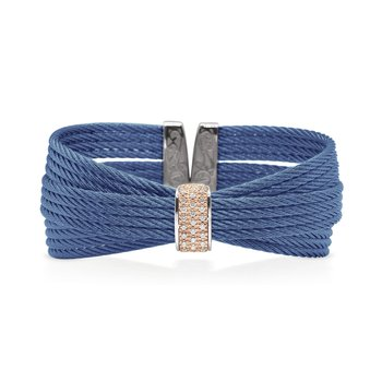 Blueberry Cable Bow Cuff with Diamonds set in 18kt Rose Gold