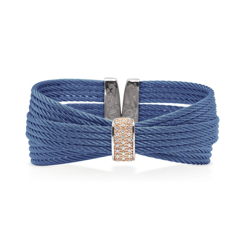 ALOR Blueberry Cable Bow Cuff with Diamonds set in 18kt Rose Gold