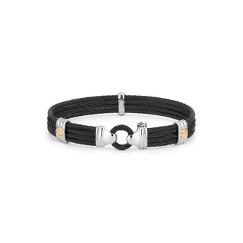 Black Cable Bracelet with Round Steel Station & 18kt Yellow Gold