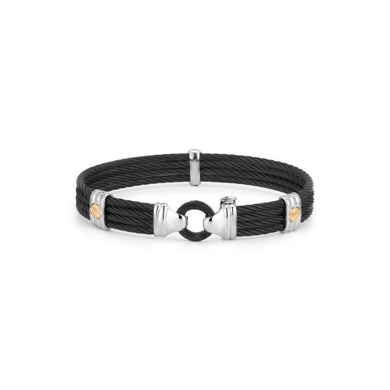 ALOR Black Cable Bracelet with Round Steel Station & 18kt Yellow Gold
