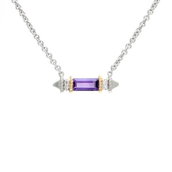 18kt and Sterling Silver Amethyst Diamond Necklace
