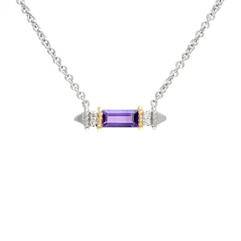 Andrea Candela 18kt and Sterling Silver Amethyst Diamond Necklace