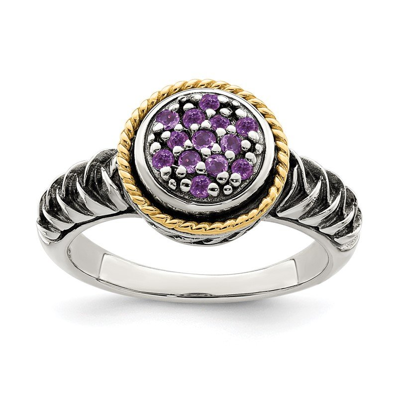Quality Gold Sterling Silver w/ 14K Accent Amethyst Ring