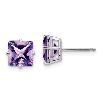 14k White Gold 7mm Princess Cut Amethyst Earrings