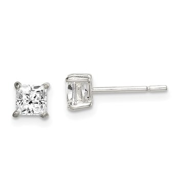 Sterling Silver Polished 4mm Princess CZ Post Earrings