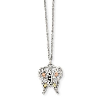 Sterling Silver & 12k Antiqued Butterfly Necklace