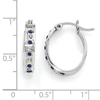 Sterling Silver & Platinum-plated Diamond & Sapphire Oval Hoop Earring