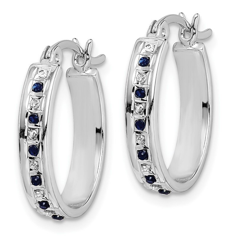 Quality Gold SS Diamond Mystique Platinum-plated Dia/Sapphire Oval Hoop Earring