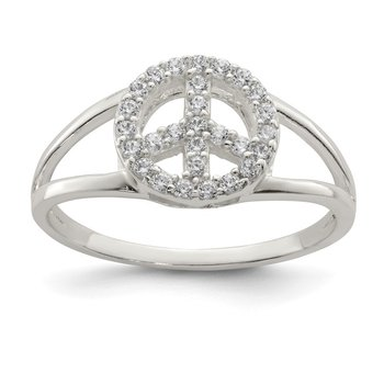 Sterling Silver Polished CZ Peace Sign Ring