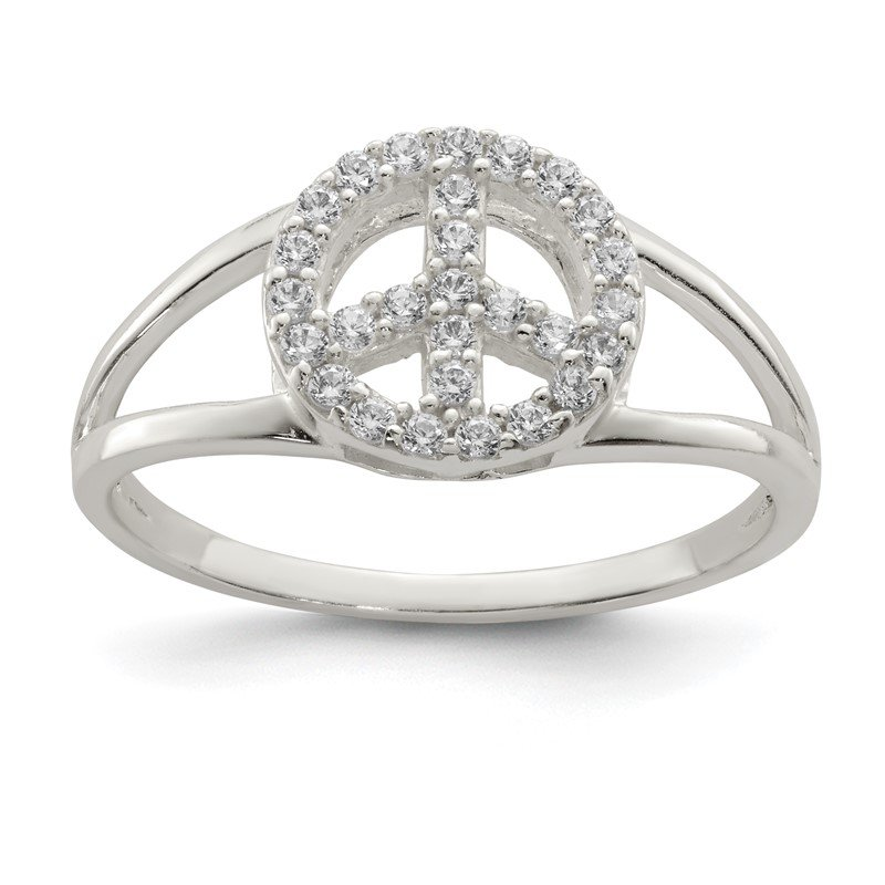 Quality Gold Sterling Silver Polished CZ Peace Sign Ring