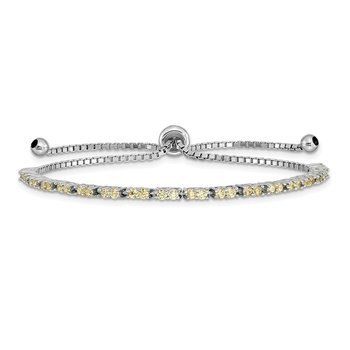 Sterling Silver Rhod-plated November Yellow CZ Adjustable Bracelet