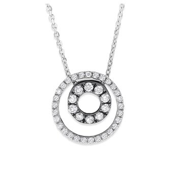 Diamond Double Circle Necklace in 14K White Gold with 39 Diamonds Weighing .32 ct tw