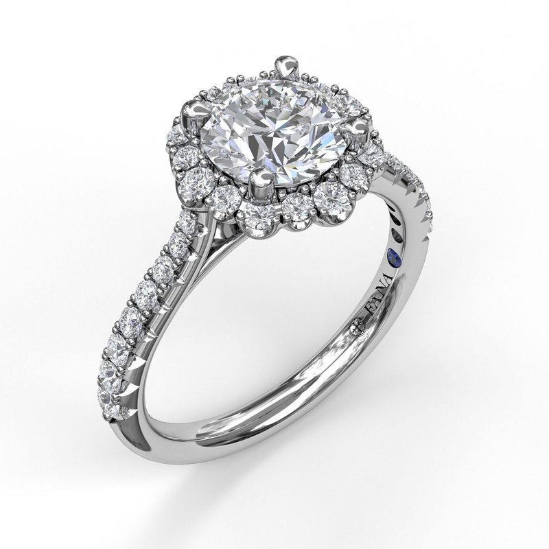 Fana Round Cut Engagement Ring With Scalloped Halo
