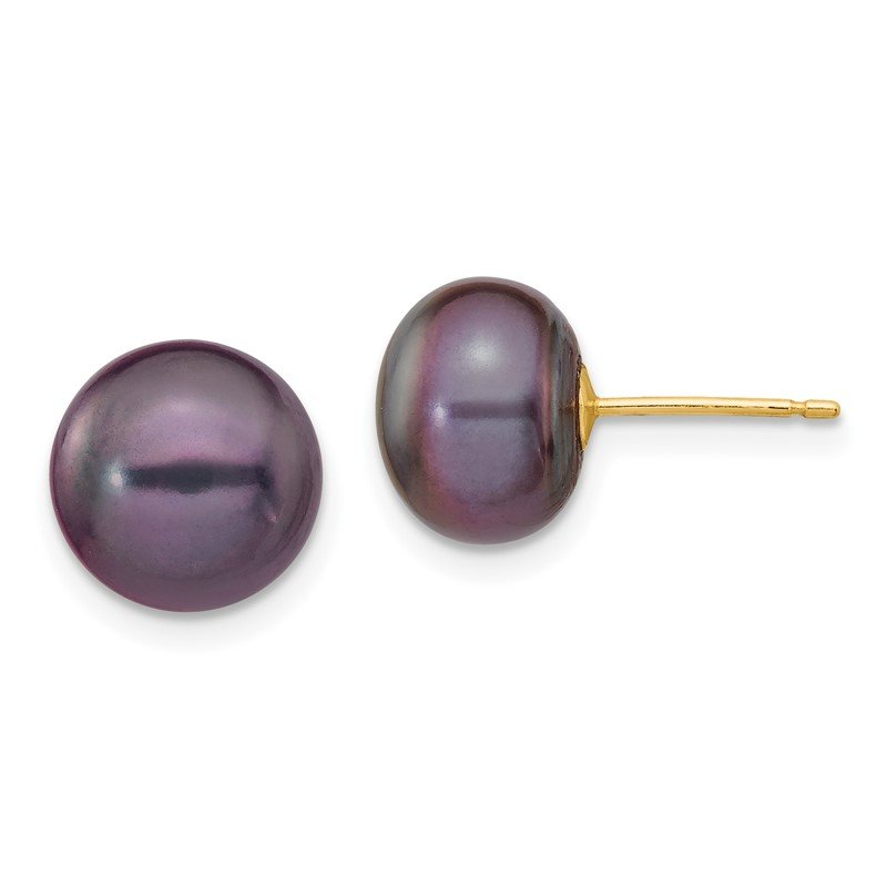 Quality Gold 14k 9-10mm Black Button FW Cultured Pearl Stud Post Earrings