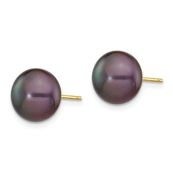 14k 9-10mm Black Button FW Cultured Pearl Stud Post Earrings