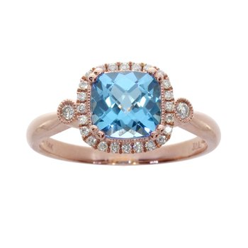 14k Rose Gold Cushion Cut Blue Topaz and Diamond Ring