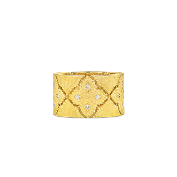 18KT WIDE RING WITH DIAMONDS