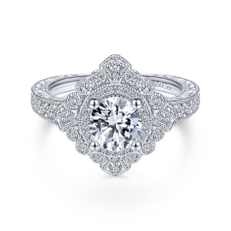 Gabriel Bridal Top Picks Art Deco 14K White Gold Round Double Halo Diamond Engagement Ring