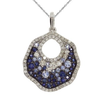14k White Gold Sapphire and Diamond Disc Pendant