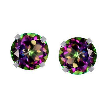 14k White Gold 6MM Round Mystic Topaz Stud Earrings (1.97 CT)