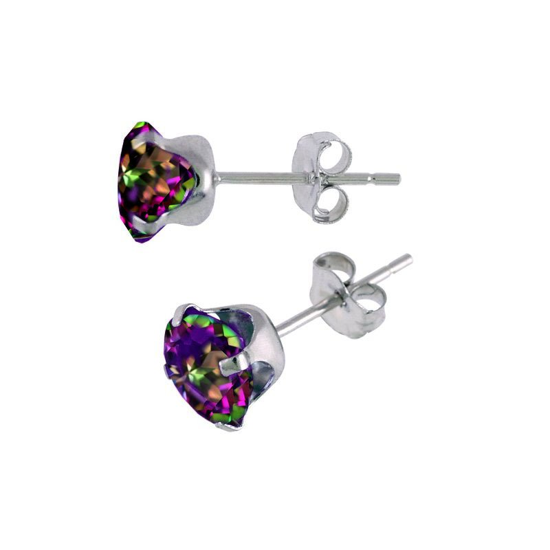 Color Merchants 14k White Gold 6MM Round Mystic Topaz Stud Earrings (1.97 CT)