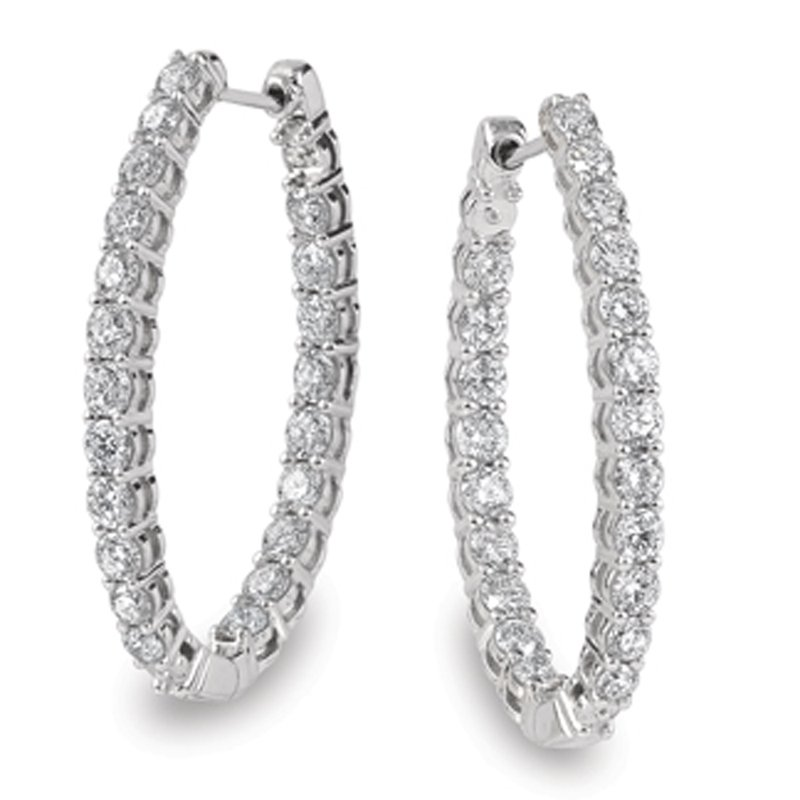 SDC Creations Prong set Diamond Oval Reflection Hoops in 14k White Gold (4.27 ct. tw.) GH/SI1-SI2