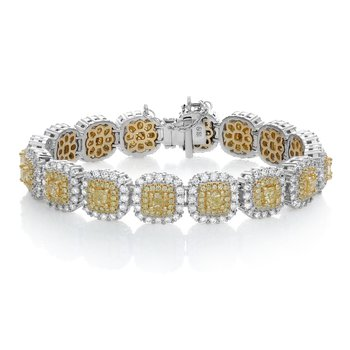 Double Halo Yellow Diamond Bracelet