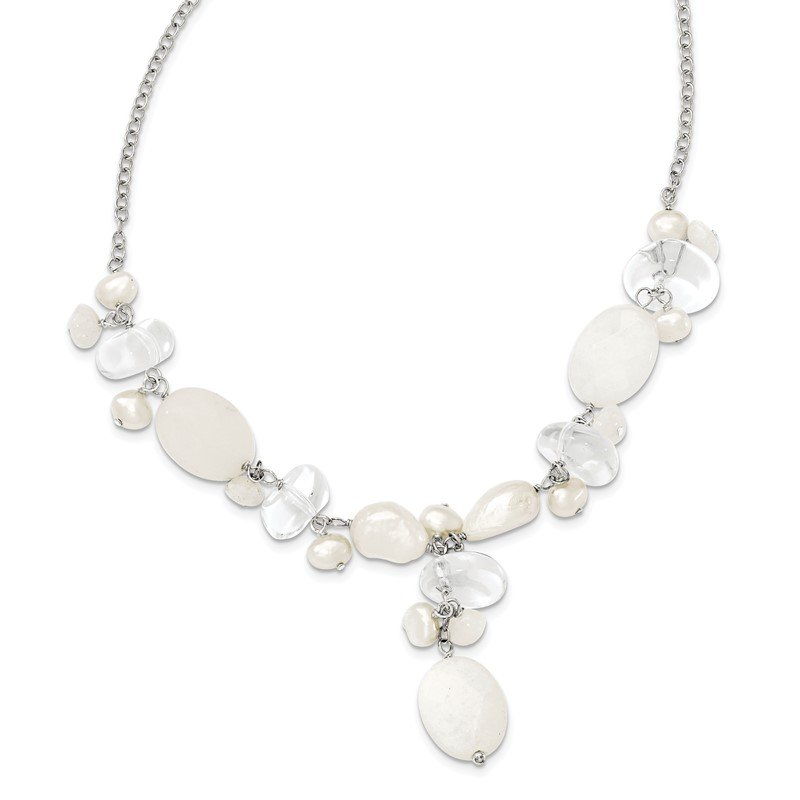 Quality Gold Sterling Silver Moonstone/FWC Pearl/Rock Qtz/White Jade Necklace