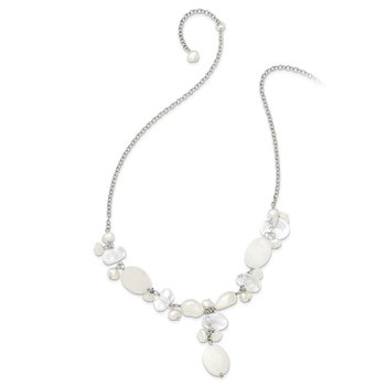 Sterling Silver Moonstone/FWC Pearl/Rock Qtz/White Jade Necklace