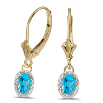 14k Yellow Gold Oval Blue Topaz And Diamond Leverback Earrings
