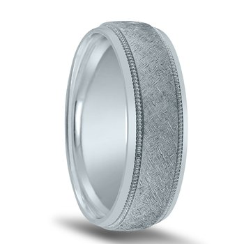 Men's Wedding Band N16625 with Milgrain and Center Finish (by Novell)