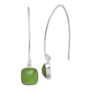 Sterling Silver Green Sea Glass Dangle Earrings