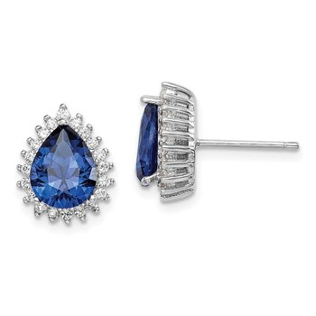 Sterling Silver Rhodium-plated Created Spinel/CZ Pear Post Earrings