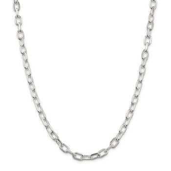 Sterling Silver 6.5mm Diamond-cut Long Link Cable Chain