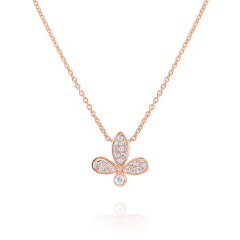 Diamond Leaf Pendant Set in 14 Kt. Gold