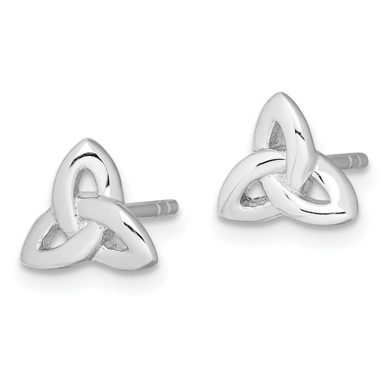 Quality Gold Sterling Silver Rhodium-plated Trinity Symbol Post Earrings