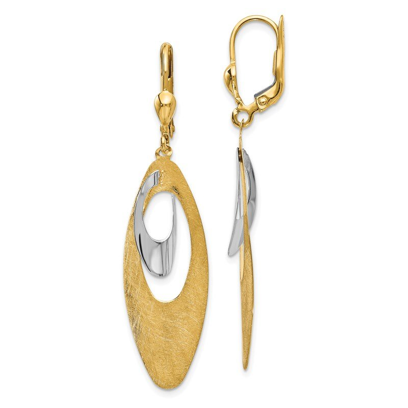 Leslie's Leslie's 14K Two-tone Polished and Scratch Finish Leverback Earrings