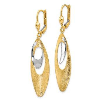 Leslie's 14K Two-tone Polished and Scratch Finish Leverback Earrings