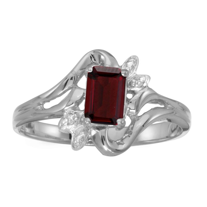 Color Merchants 14k White Gold Emerald-cut Garnet And Diamond Ring