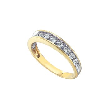 10kt Yellow Gold Womens Round Channel-set Diamond Single Row Wedding Band 1/2