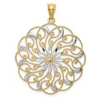 Lester Martin Online Collection 14k and Rhodium Diamond-cut Fancy Swirl Pendant