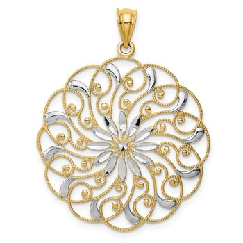 14k and Rhodium Diamond-cut Fancy Swirl Pendant