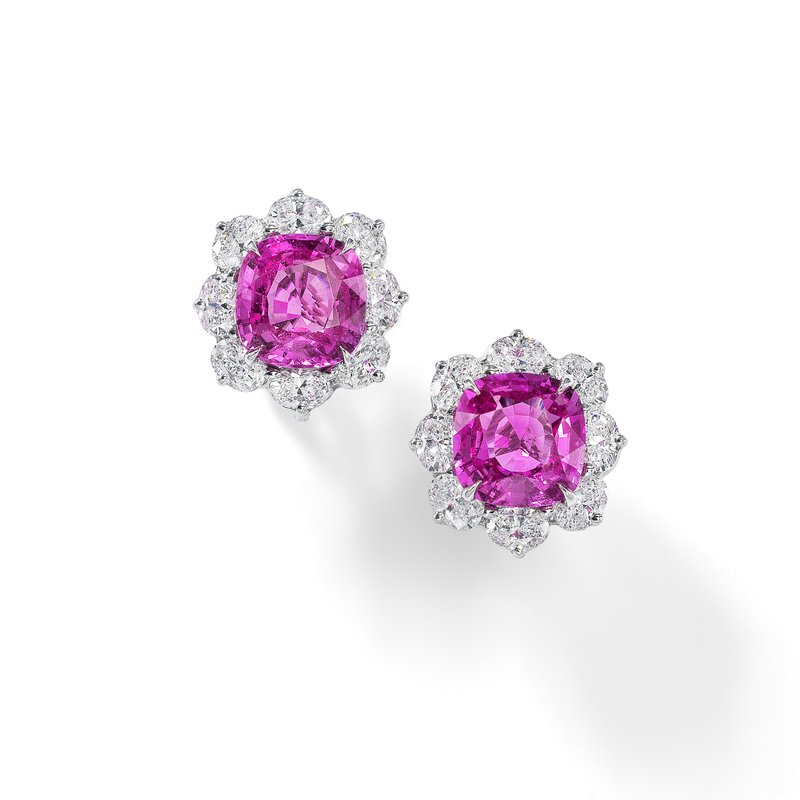 Oscar Heyman Platinum Pink Sapphire Entourage Earrings