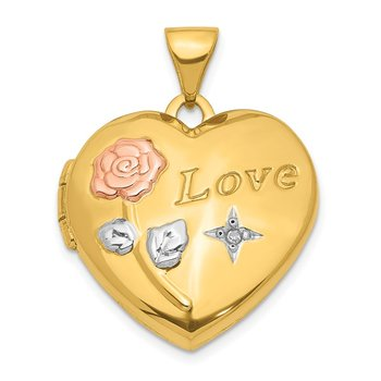 14K w/White and Rose Rhodium .005 ct Diamond 19mm Locket Pendant