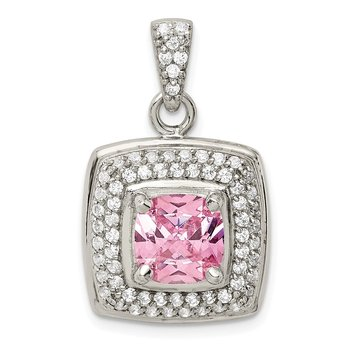 Sterling Silver Pink & White CZ Square Pendant