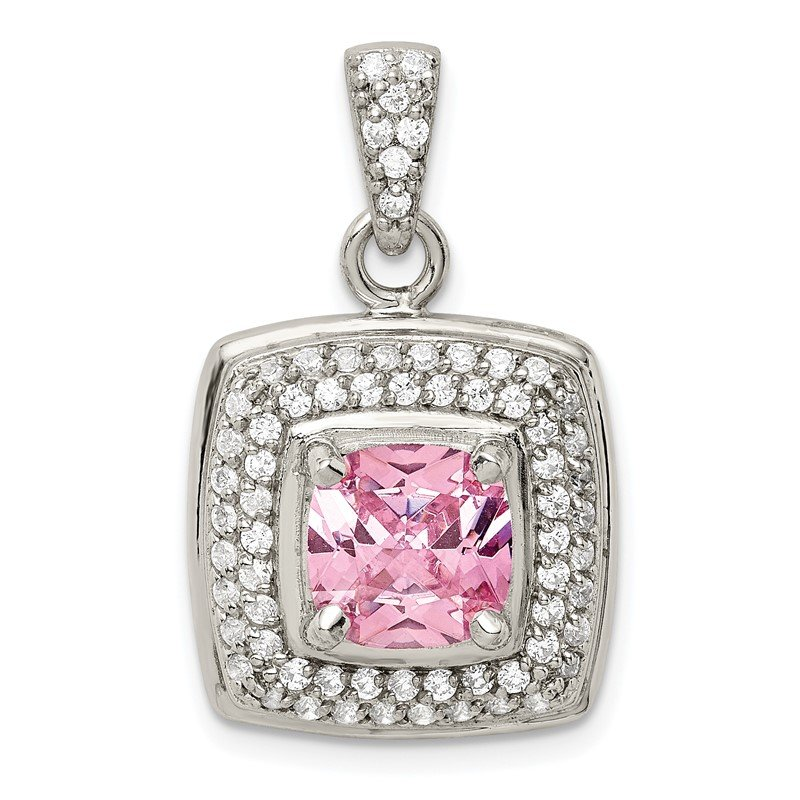 Quality Gold Sterling Silver Pink & White CZ Square Pendant