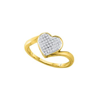 10kt Yellow Gold Womens Round Diamond Heart Cluster Love Ring 1/10 Cttw
