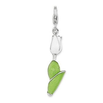 Sterling Silver Enameled Tulip w/Lobster Clasp Charm