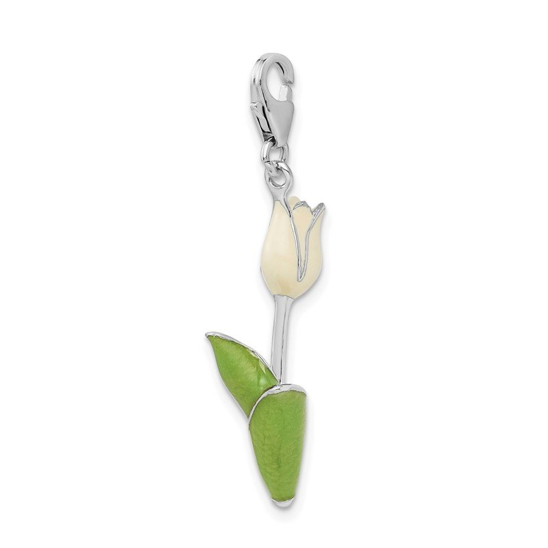 Quality Gold Sterling Silver Amore La Vita Rhodium-pl Polished Enameled Tulip Charm