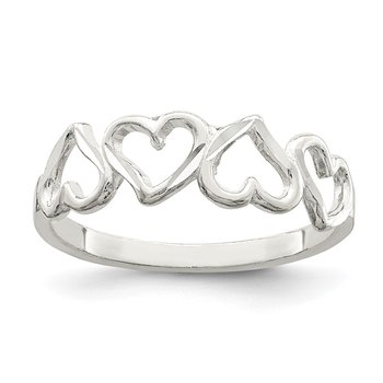 Sterling Silver D/C Heart Ring